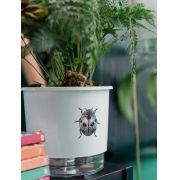 Vaso Autoirrigável Pequeno N02 12cm x 11cm Branco Joaninha Coleção Jardim de Insetos