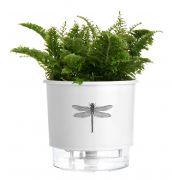 Vaso Autoirrigável Pequeno N02 12cm x 11cm Branco Libélula Coleção Jardim de Insetos