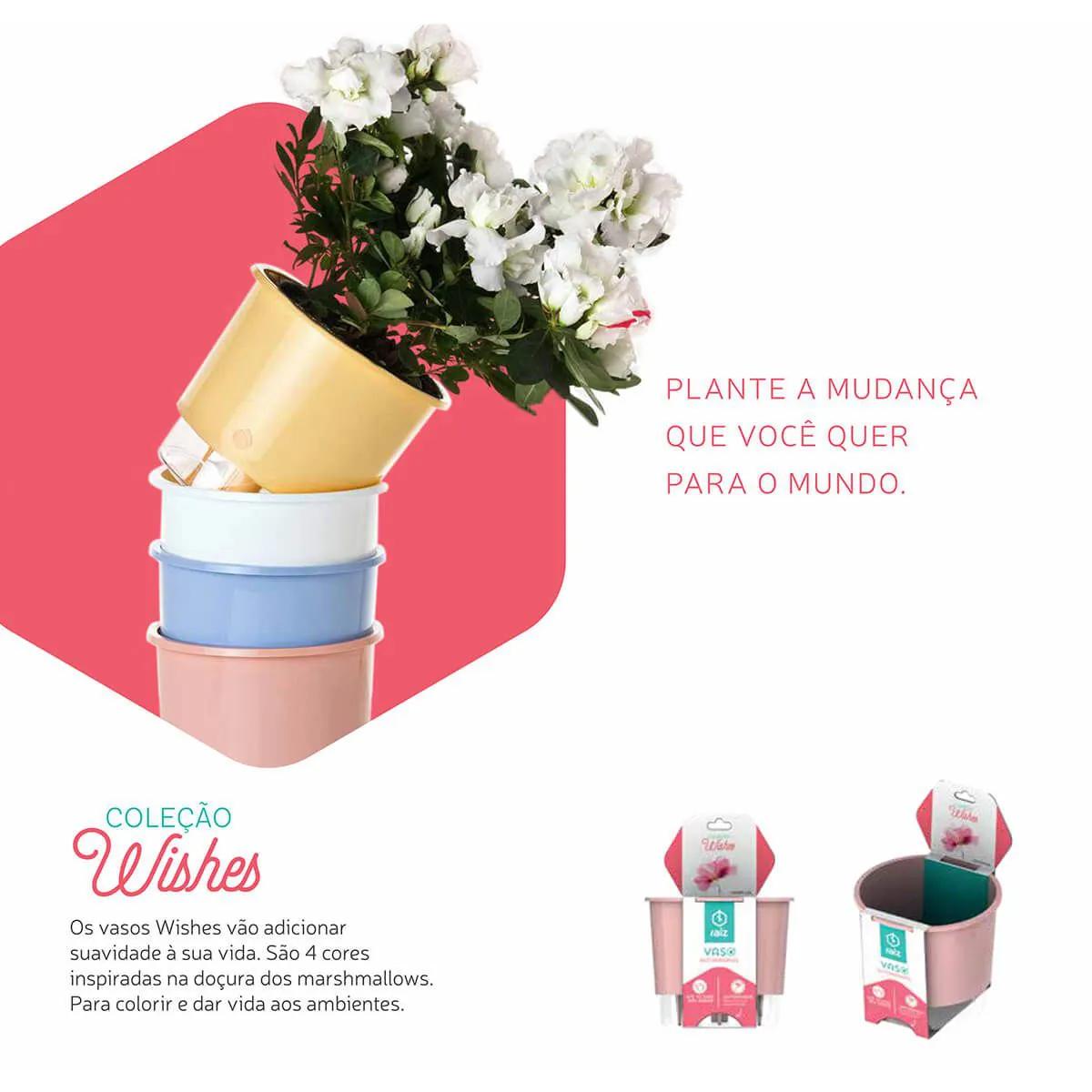 3 Vasos Autoirrigáveis Flor e Amor Branco Pequenos 12cm x 11cm - N02  - Vasos Raiz Loja Oficial