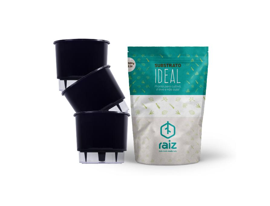 3 Vasos Pequenos N02 + Substrato Ideal  - Loja Raiz