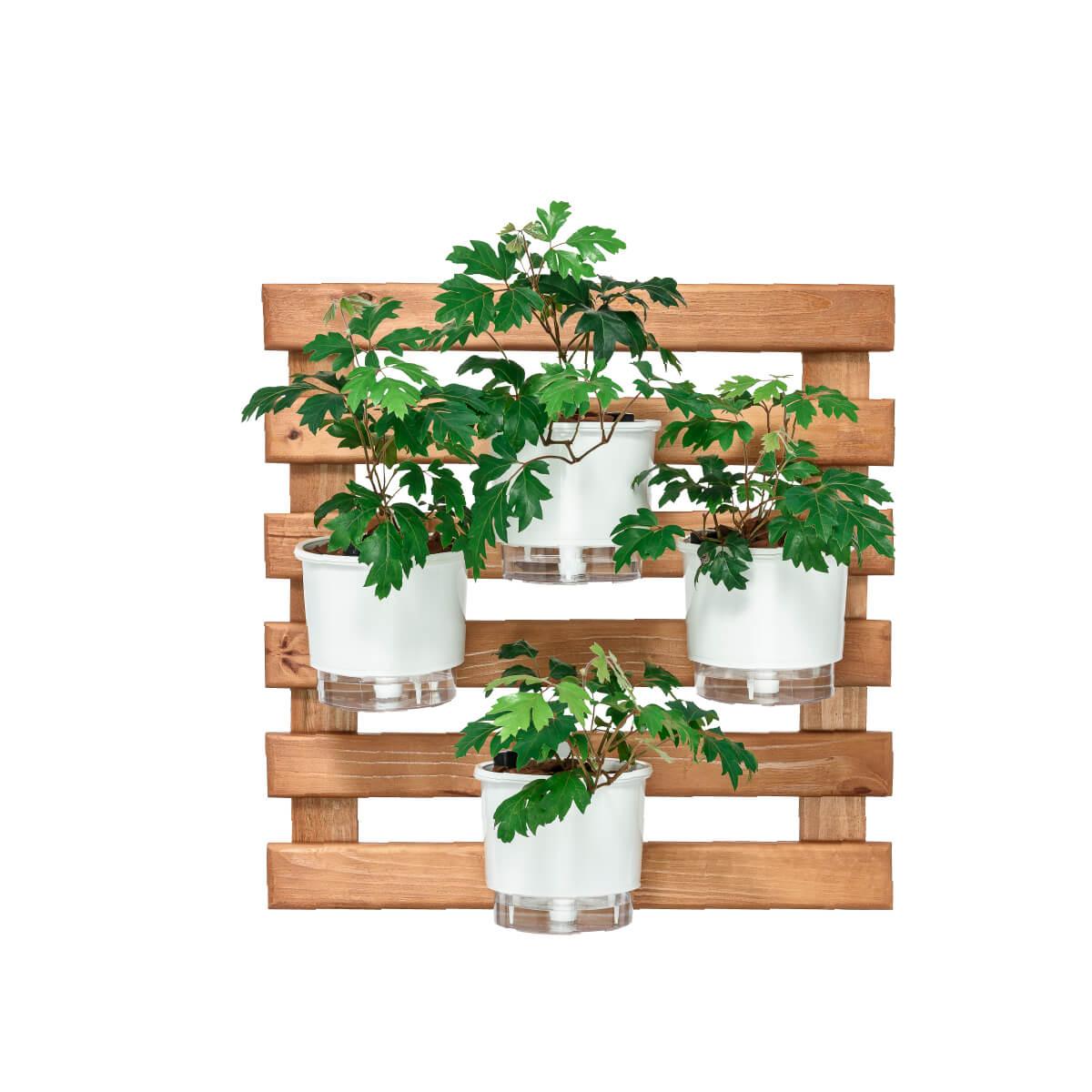 Kit Horta Vertical 60cm x 60cm com 4 Vasos Brancos  - Vasos Raiz Loja Oficial