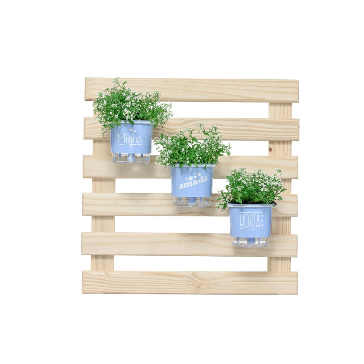 Mini Jardim Vertical 60cm x 60cm Amada Horta Azul Serenity  - Vasos Raiz Loja Oficial
