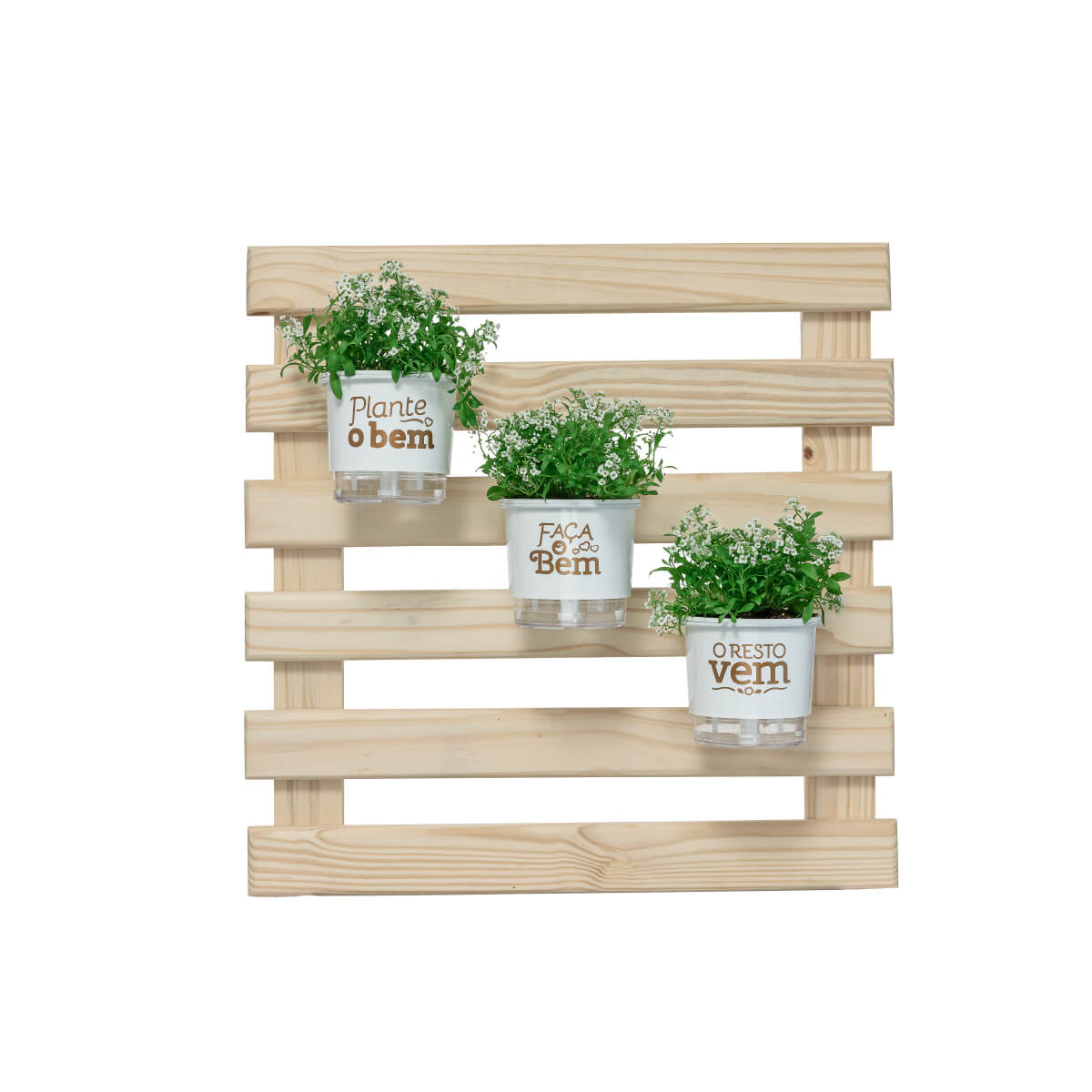 Mini Jardim Vertical 60cm x 60cm Plante o Bem Branco  - Loja Raiz