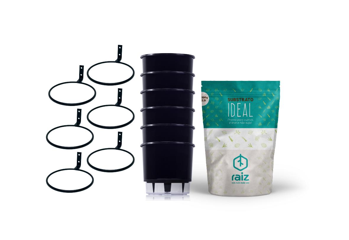 6 Vasos Pequenos N02 + Suportes de Parede + Substrato Ideal  - Loja Raiz