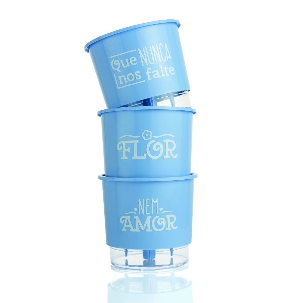 Conjunto 3 Vasos Autoirrigáveis Azul Serenity Pequenos 12cm x 11cm Flor e Amor  - Loja Raiz