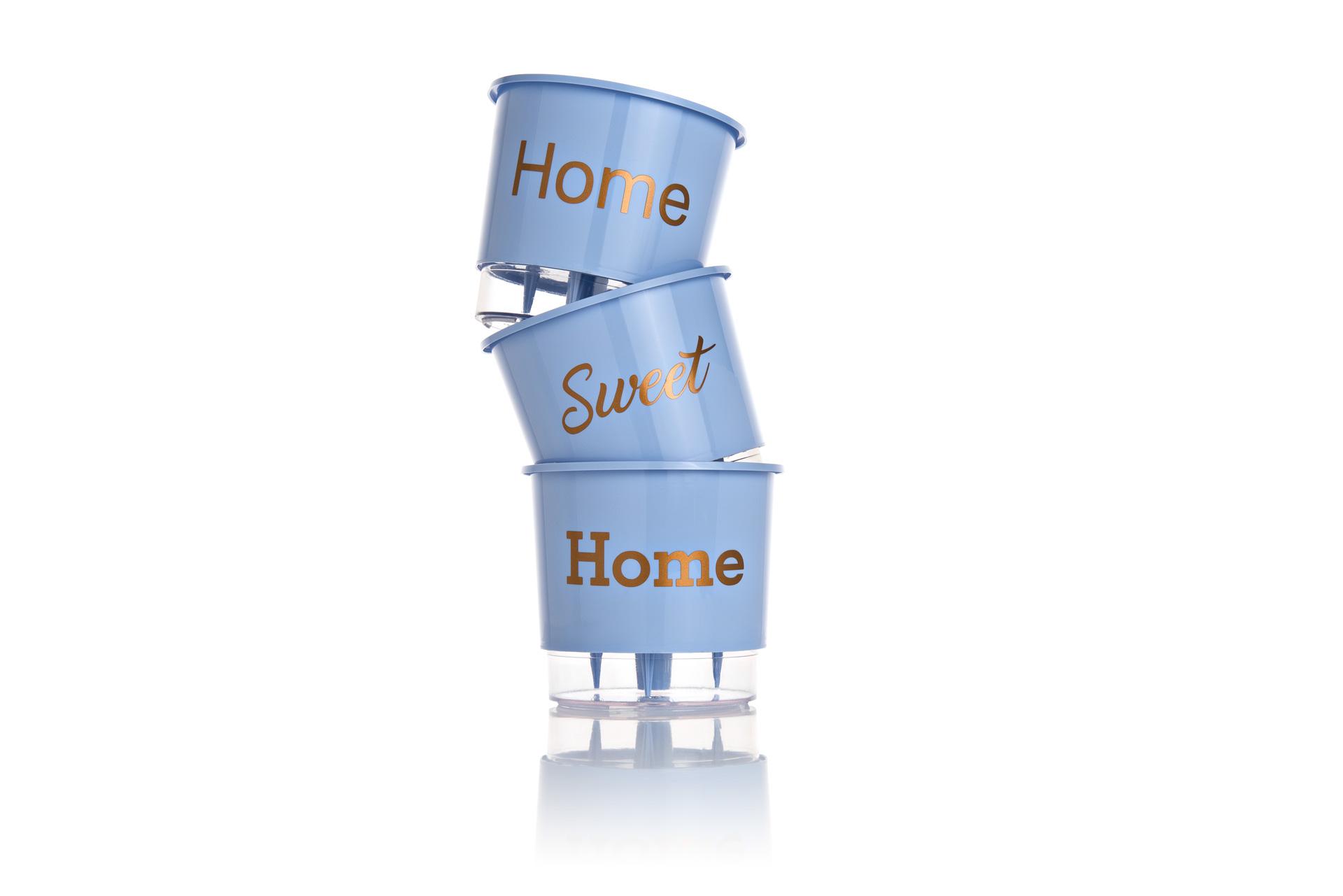 Conjunto 3 Vasos Autoirrigáveis Azul Serenity Pequenos 12cm x 11cm Home Sweet Home  - Loja Raiz