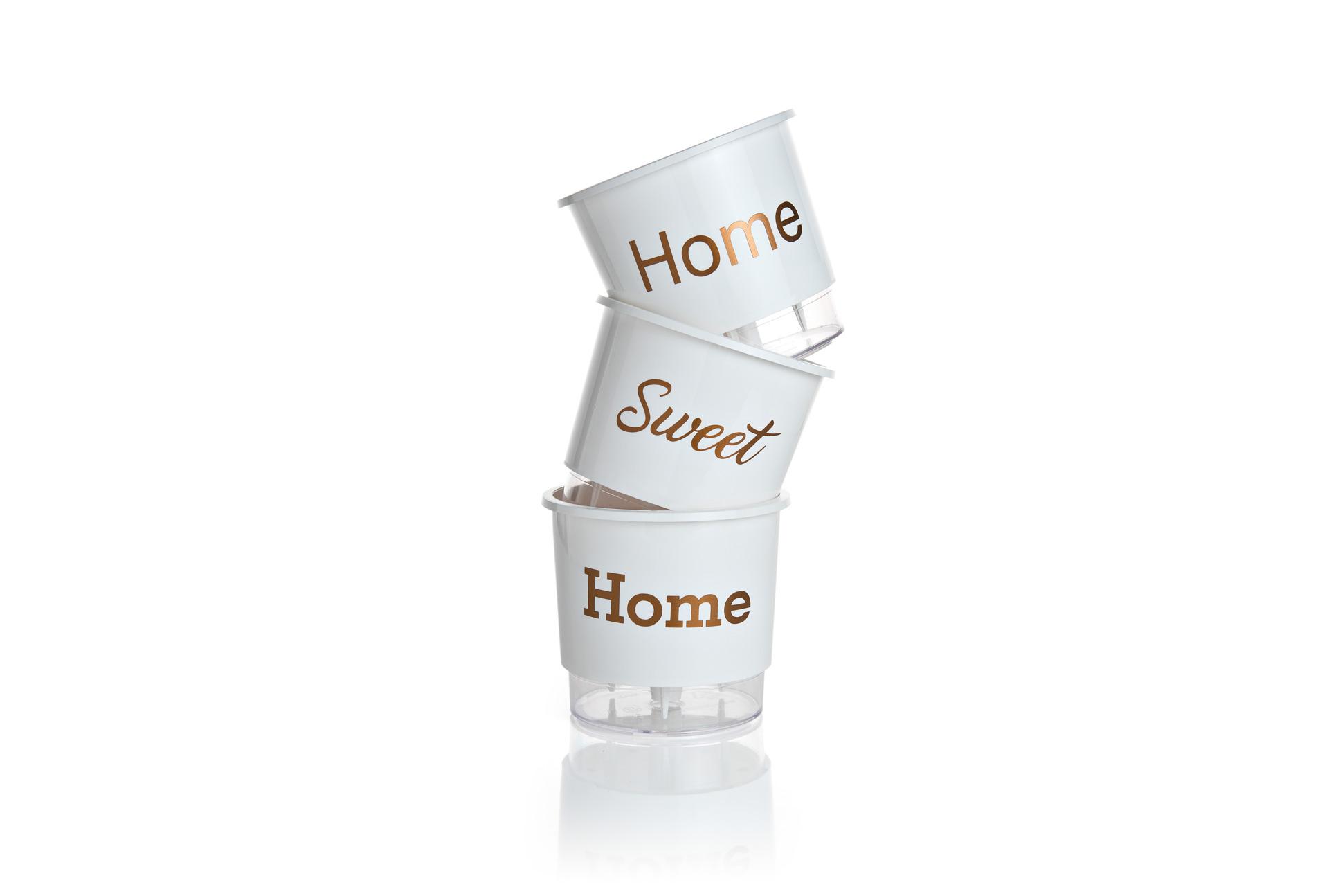 Conjunto 3 Vasos Autoirrigáveis Branco Pequenos 12cm x 11cm Home Sweet Home  - Loja Raiz