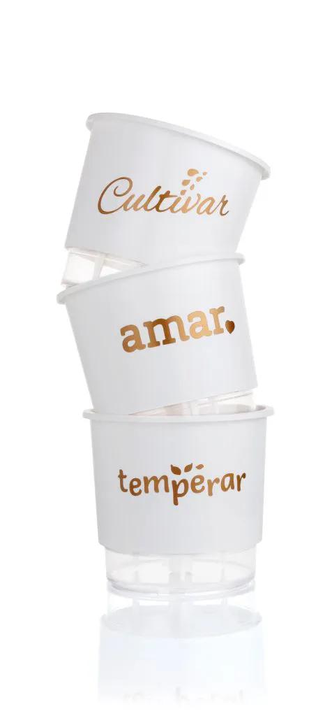 Conjunto 3 Vasos Autoirrigáveis Pequenos 12cm x 11cm Cultivar Temperar e Amar - Branco