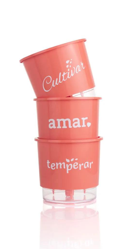 Conjunto 3 Vasos Autoirrigáveis Pequenos 12cm x 11cm Cultivar Temperar e Amar - Coral