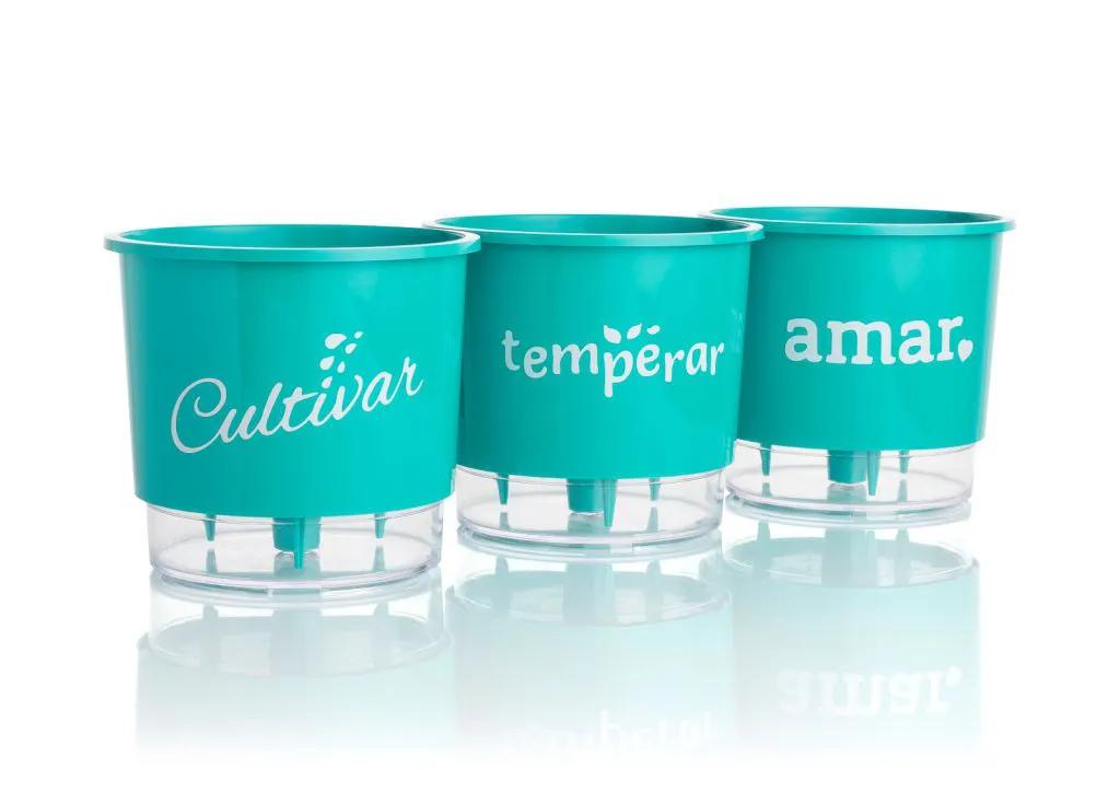 Conjunto 3 Vasos Autoirrigáveis Pequenos 12cm x 11cm Cultivar Temperar e Amar - Verde Raiz  - Vasos Raiz Loja Oficial