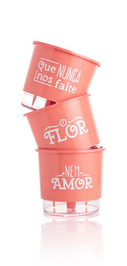 Conjunto 3 Vasos Autoirrigáveis Pequenos 12cm x 11cm Flor e Amor - Coral