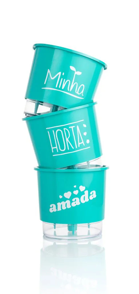 Conjunto 3 Vasos Autoirrigáveis Pequenos 12cm x 11cm Minha Amada Horta - Verde Raiz
