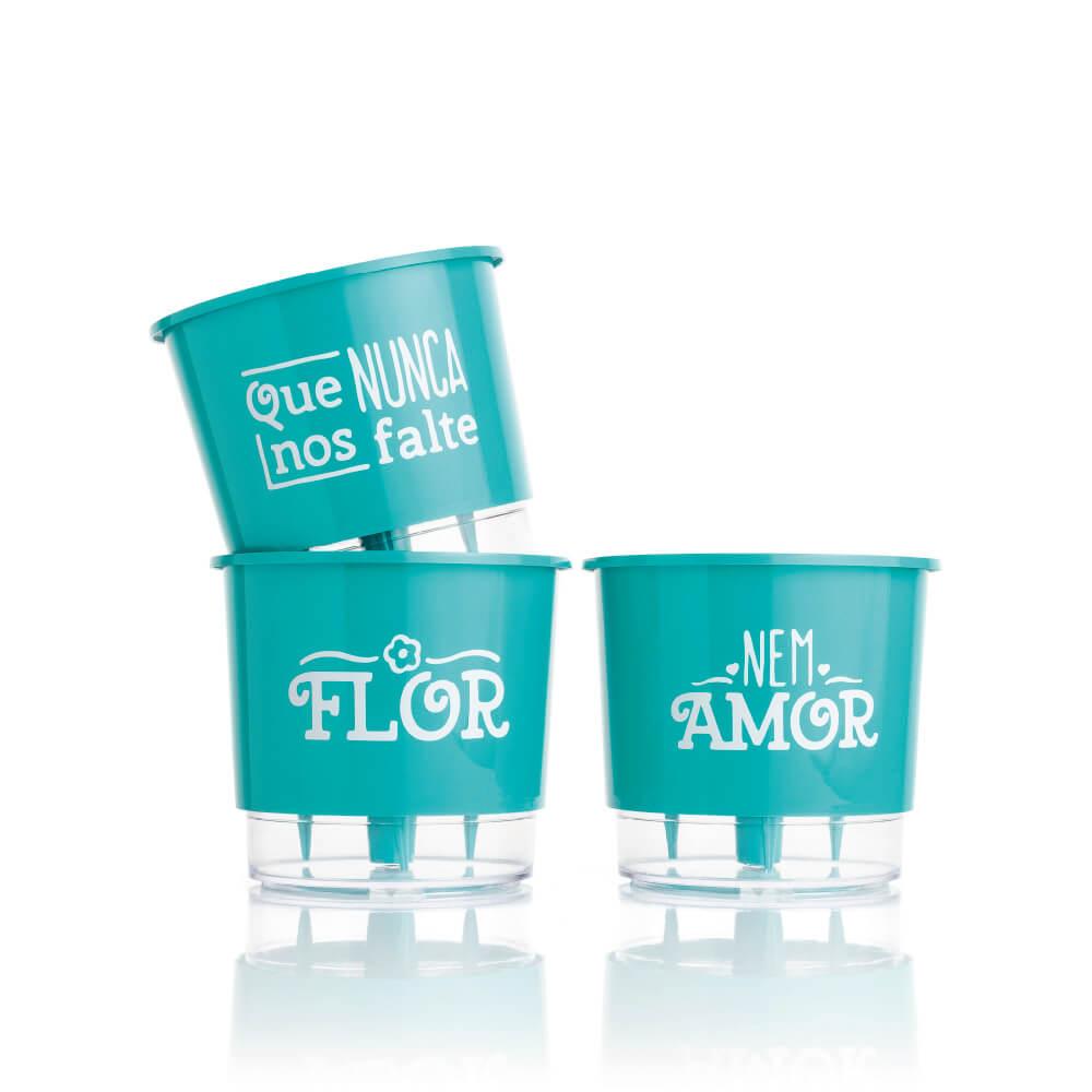 Conjunto 3 Vasos Autoirrigáveis  Verde Raiz -  Flor e Amor - Pequenos 12cm x 11cm - N02  - Vasos Raiz Loja Oficial