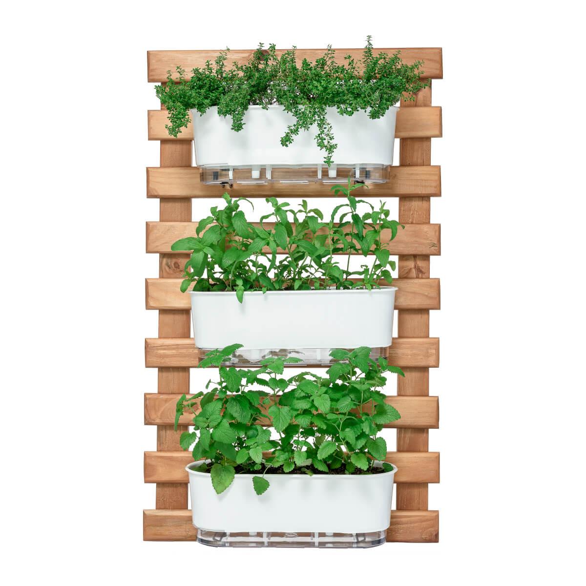 Kit Horta Vertical 60cm x 100cm com 3 Jardineiras brancas  - Vasos Raiz Loja Oficial
