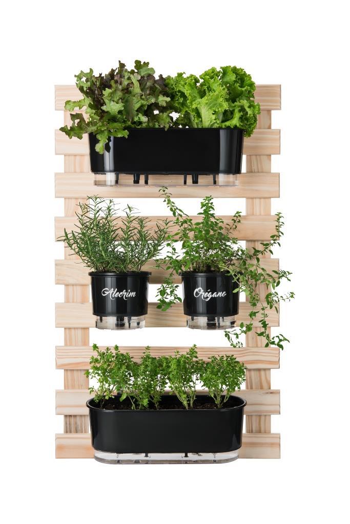 Horta Vertical Creme 60cm x 100cm com 2 Jardineiras e 2 Vasos Gourmet  - Loja Raiz