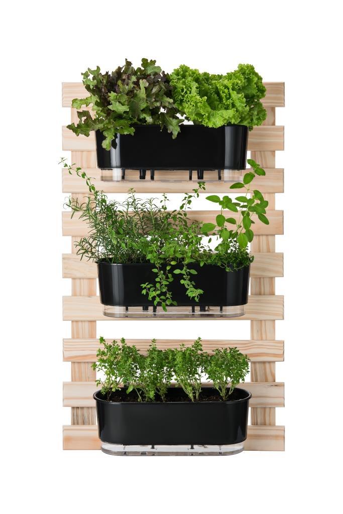 Horta Vertical Creme 60cm x 100cm com 3 Jardineiras  - Loja Raiz