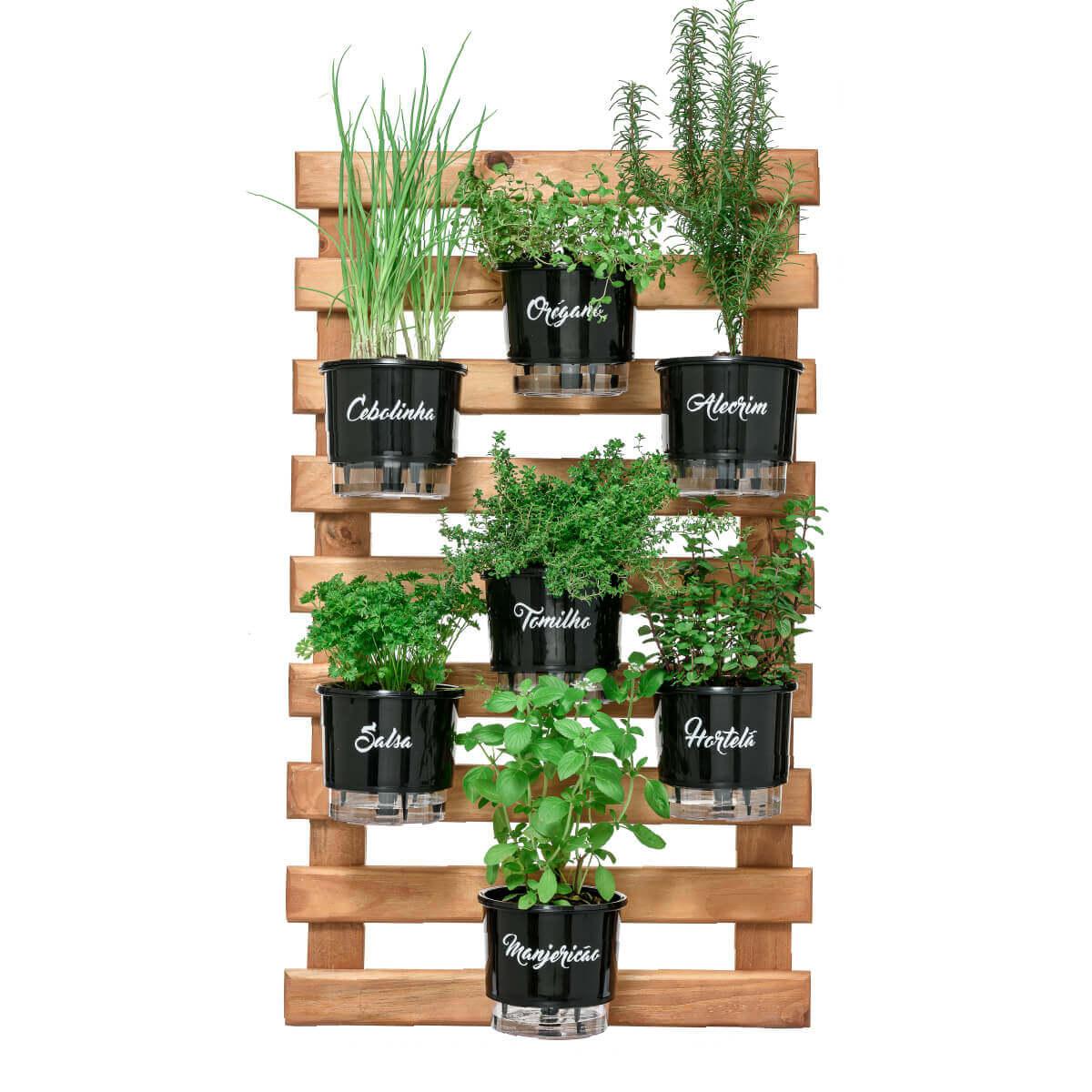 Horta Vertical Caramelo 60cm x 100cm com 7 Vasos Gourmet  - Loja Raiz