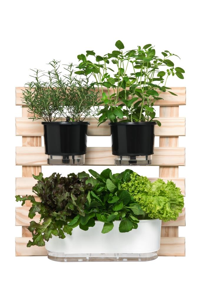 Horta Vertical Creme 60cm x 60cm com 1 Jardineira e 2 Vasos Médios  - Loja Raiz