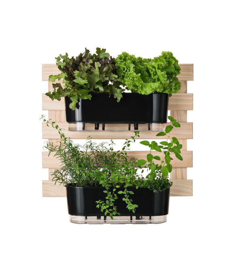 Horta Vertical Creme 60cm x 60cm com 2 Jardineiras  - Loja Raiz
