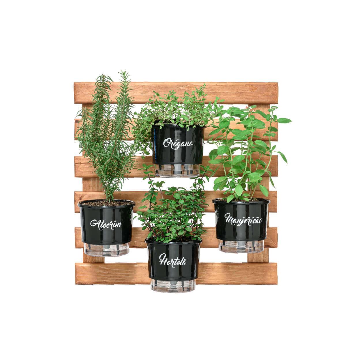 Horta Vertical Caramelo 60cm x 60cm com 4 Vasos Gourmet  - Loja Raiz