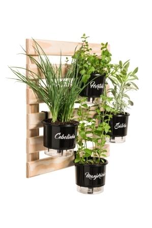 Horta Vertical Creme 60cm x 60cm com 4 Vasos Gourmet  - Loja Raiz