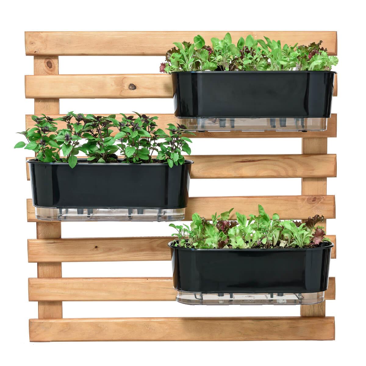Horta Vertical Caramelo 80cm x 80cm com 3 Jardineiras  - Loja Raiz
