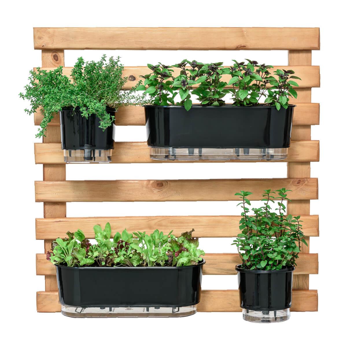 Horta Vertical Caramelo 80cm x 80cm com 2 Vasos e 2 Jardineiras  - Loja Raiz