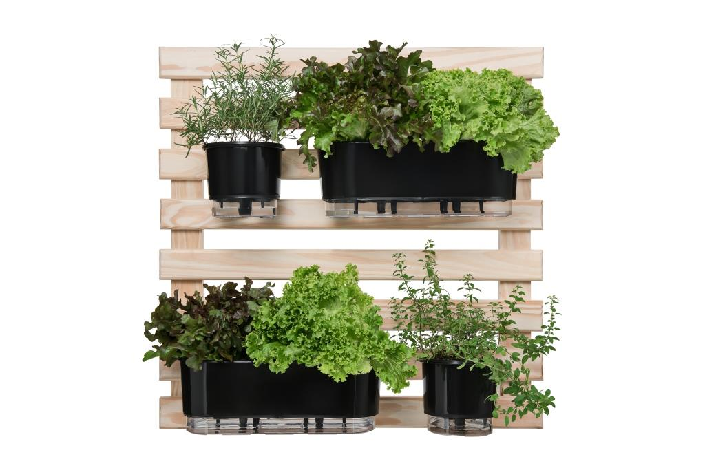 Horta Vertical Creme 80cm x 80cm com 2 Vasos e 2 Jardineiras  - Loja Raiz