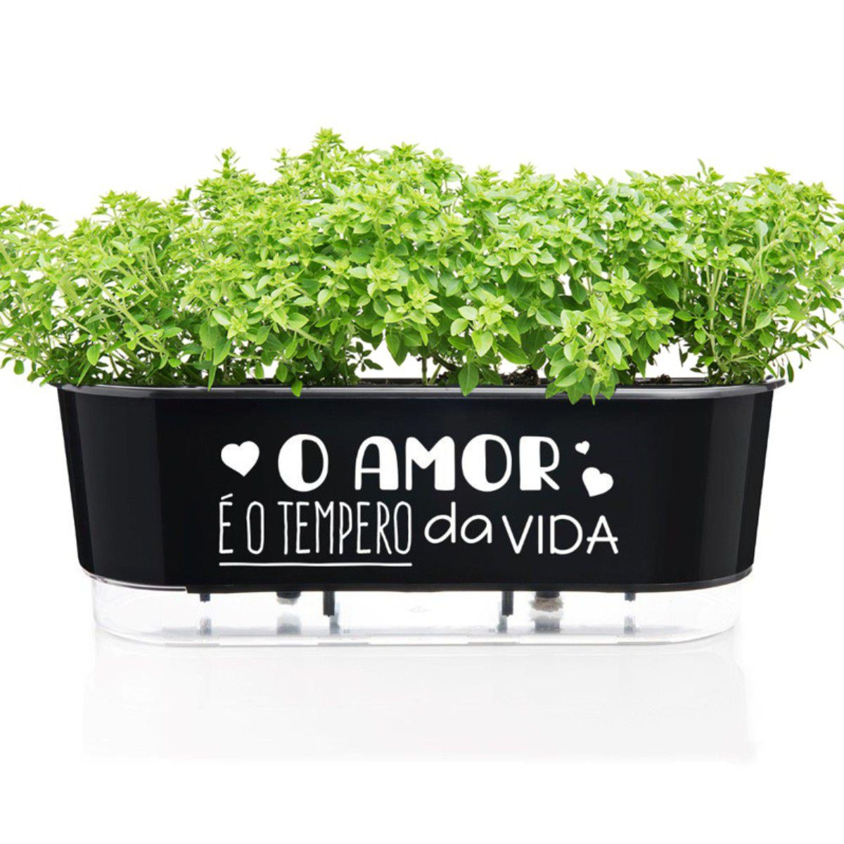Jardineira Autoirrigável O Amor é o Tempero da Vida 40 cm Preto  - Vasos Raiz Loja Oficial