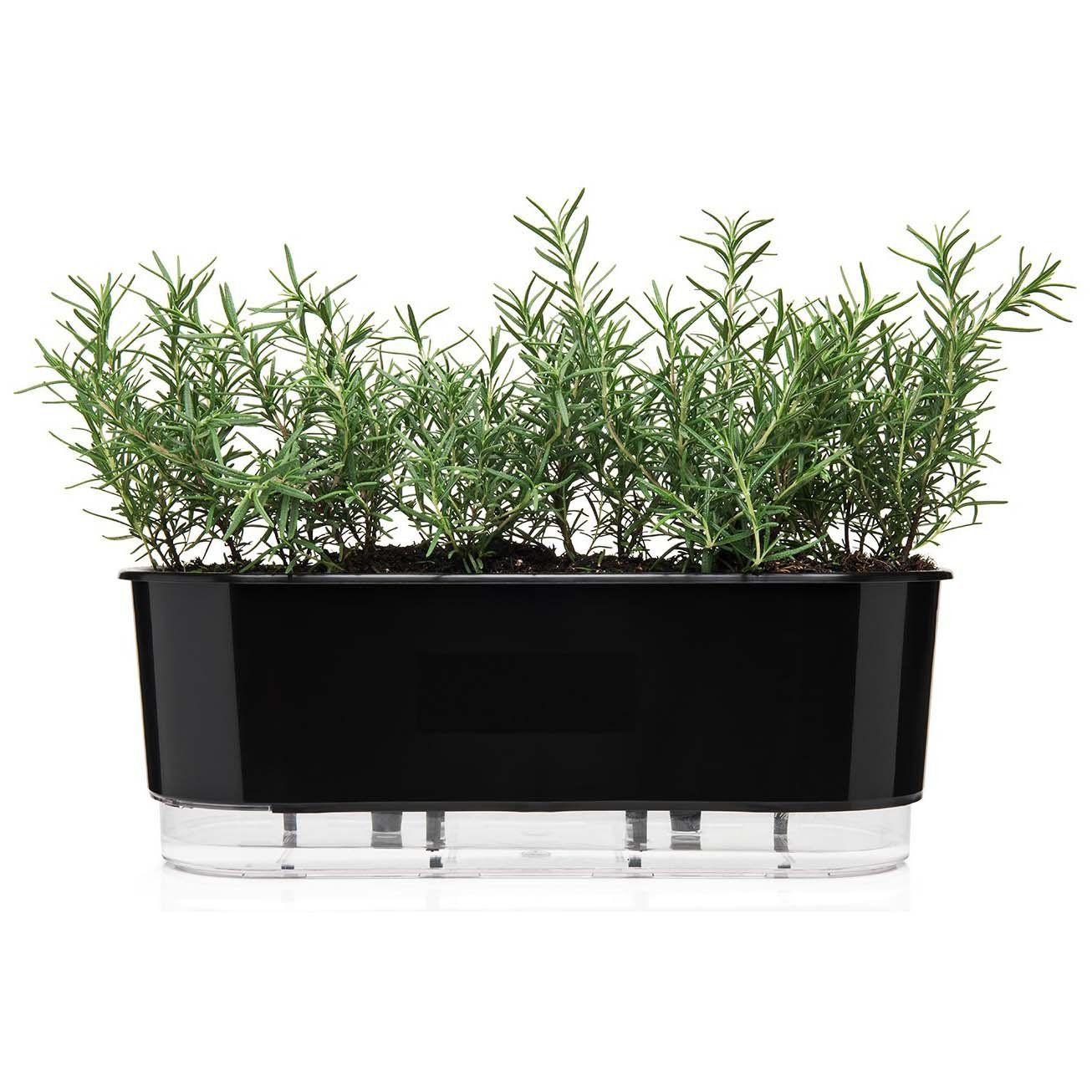 Jardineira Autoirrigável Preto 40cm  - Vasos Raiz Loja Oficial