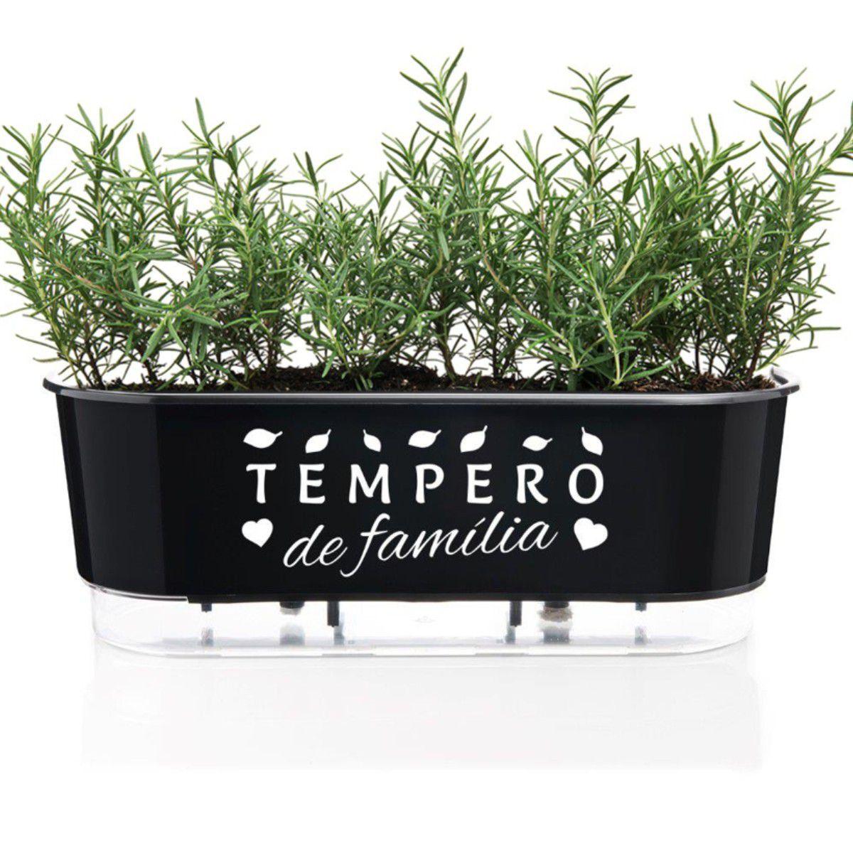 Jardineira Autoirrigável Tempero de Família 40cm Preto