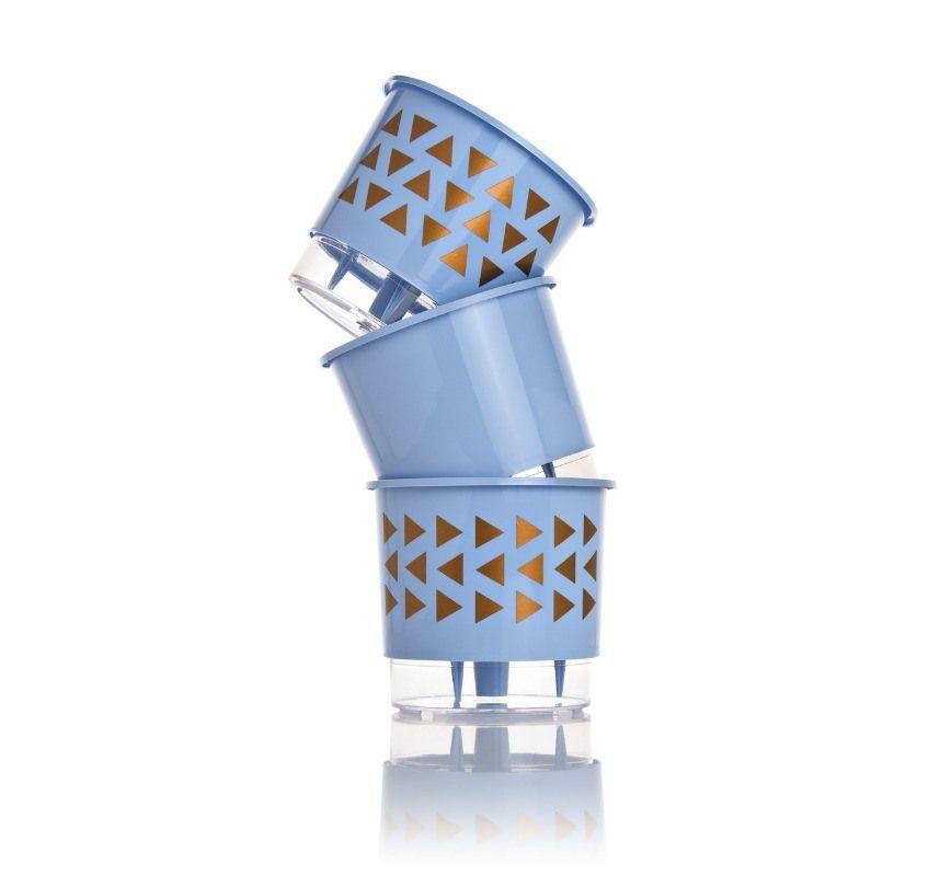 Kit 3 Vasos Autoirrigáveis Médios 16cm x 14cm Geométricos Azul Serenity