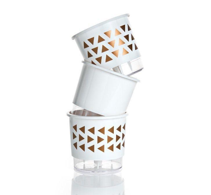Kit 3 Vasos Autoirrigáveis Médios 16cm x 14cm Geométricos Branco