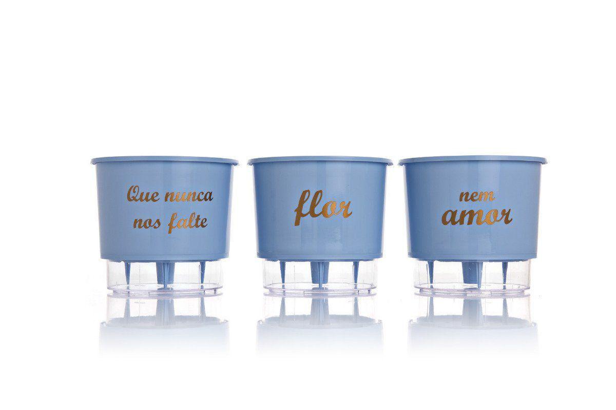 Kit 3 Vasos Autoirrigáveis Médios 16cm x 14cm Flor e Amor Azul Serenity