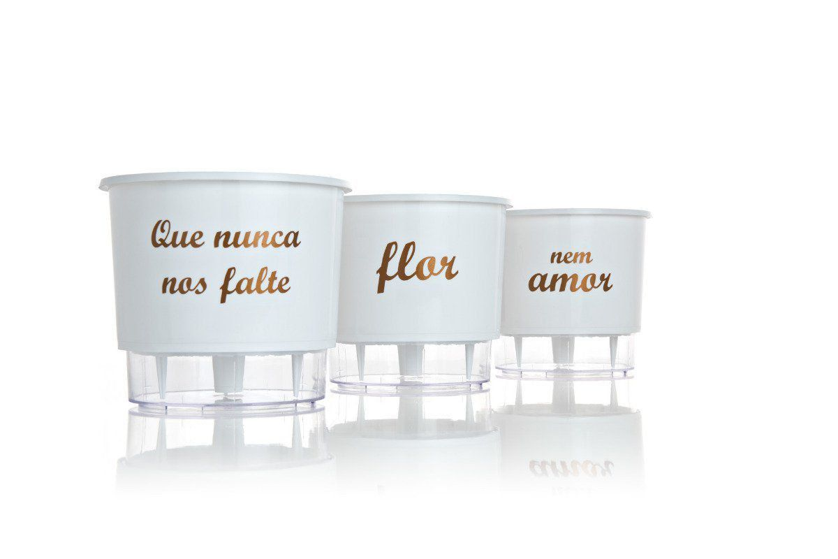 Kit 3 Vasos Autoirrigáveis Médios 16cm x 14cm Flor e Amor Branco