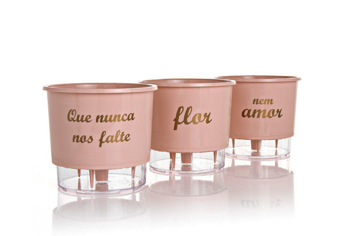 Kit 3 Vasos Autoirrigáveis Médios 16cm x 14cm Flor e Amor Rosa Quartz
