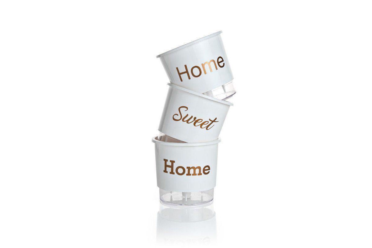 Kit 3 Vasos Autoirrigáveis Médios 16cm x 14cm Home Sweet Home Branco
