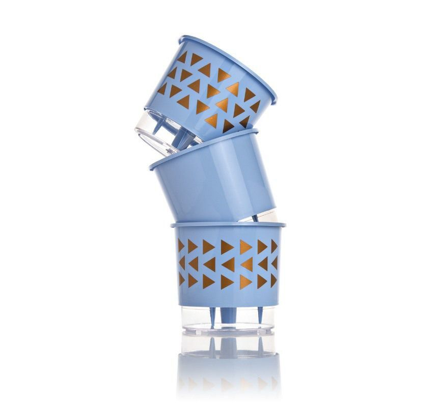 Kit 3 Vasos Autoirrigáveis Pequenos 12cm x 11cm Geométricos Azul Serenity