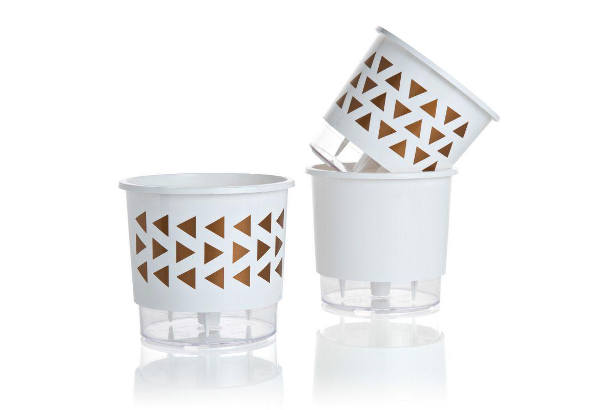 Kit 3 Vasos Autoirrigáveis Pequenos 12cm x 11cm Geométricos Branco