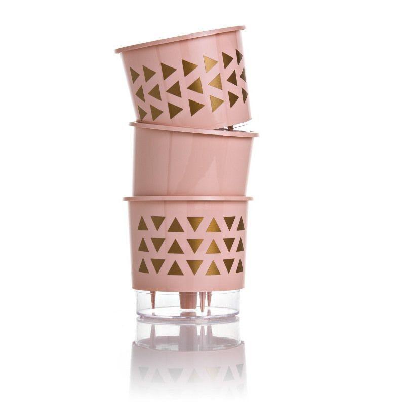 Kit 3 Vasos Autoirrigáveis Pequenos 12cm x 11cm Geométricos Rosa Quartz