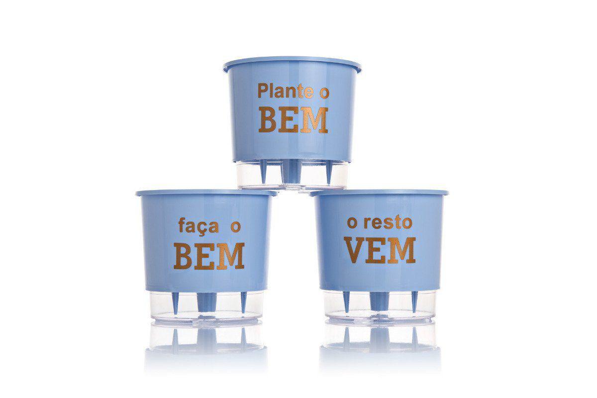 Kit 3 Vasos Autoirrigáveis Pequenos 12cm x 11cm Plante o Bem Azul Serenity