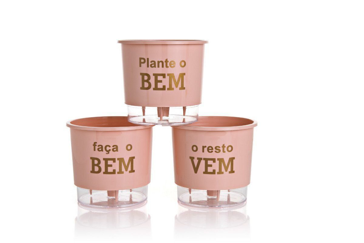 Kit 3 Vasos Autoirrigáveis Pequenos 12cm x 11cm Plante o Bem Rosa Quartz