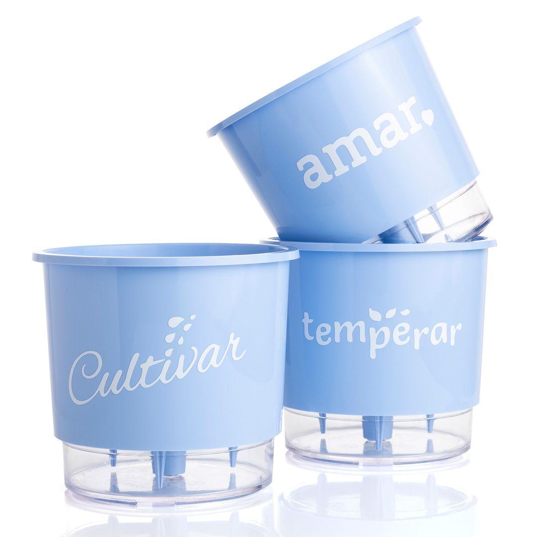 Conjunto 3 Vasos Autoirrigáveis Pequenos 12cm x 11cm Cultivar Temperar e Amar Azul Serenity  - Vasos Raiz Loja Oficial