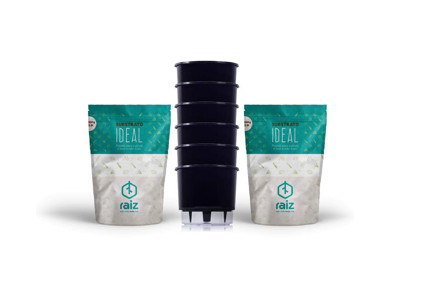 6 Vasos Médios N03 + Substrato Ideal  - Loja Raiz