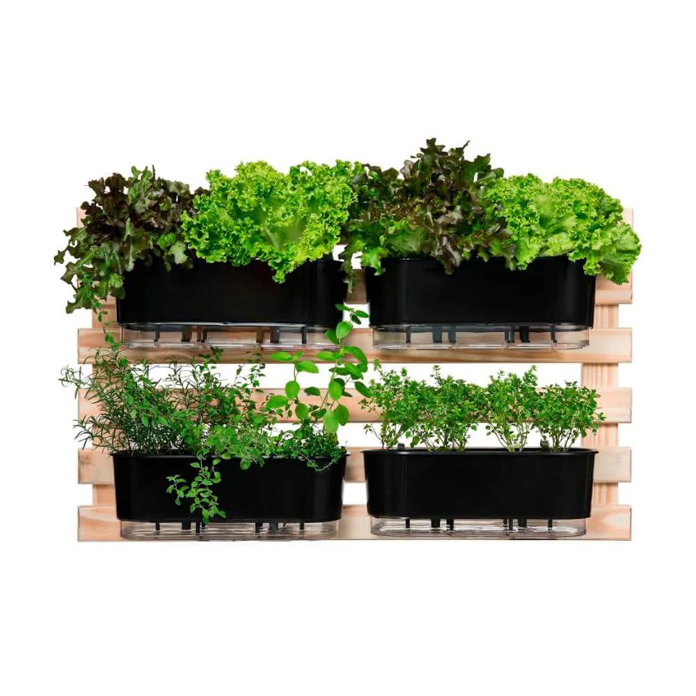 Kit Horta Horizontal 100cm x 60cm com 4 Jardineiras pretas  - Vasos Raiz Loja Oficial
