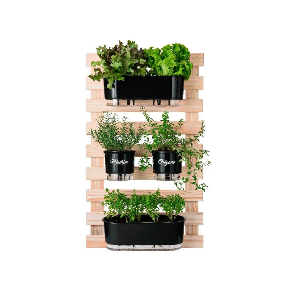 Kit Horta Vertical 60cm x 100cm com 2 Jardineiras e 2 vasos médio Gourmet  - Vasos Raiz Loja Oficial