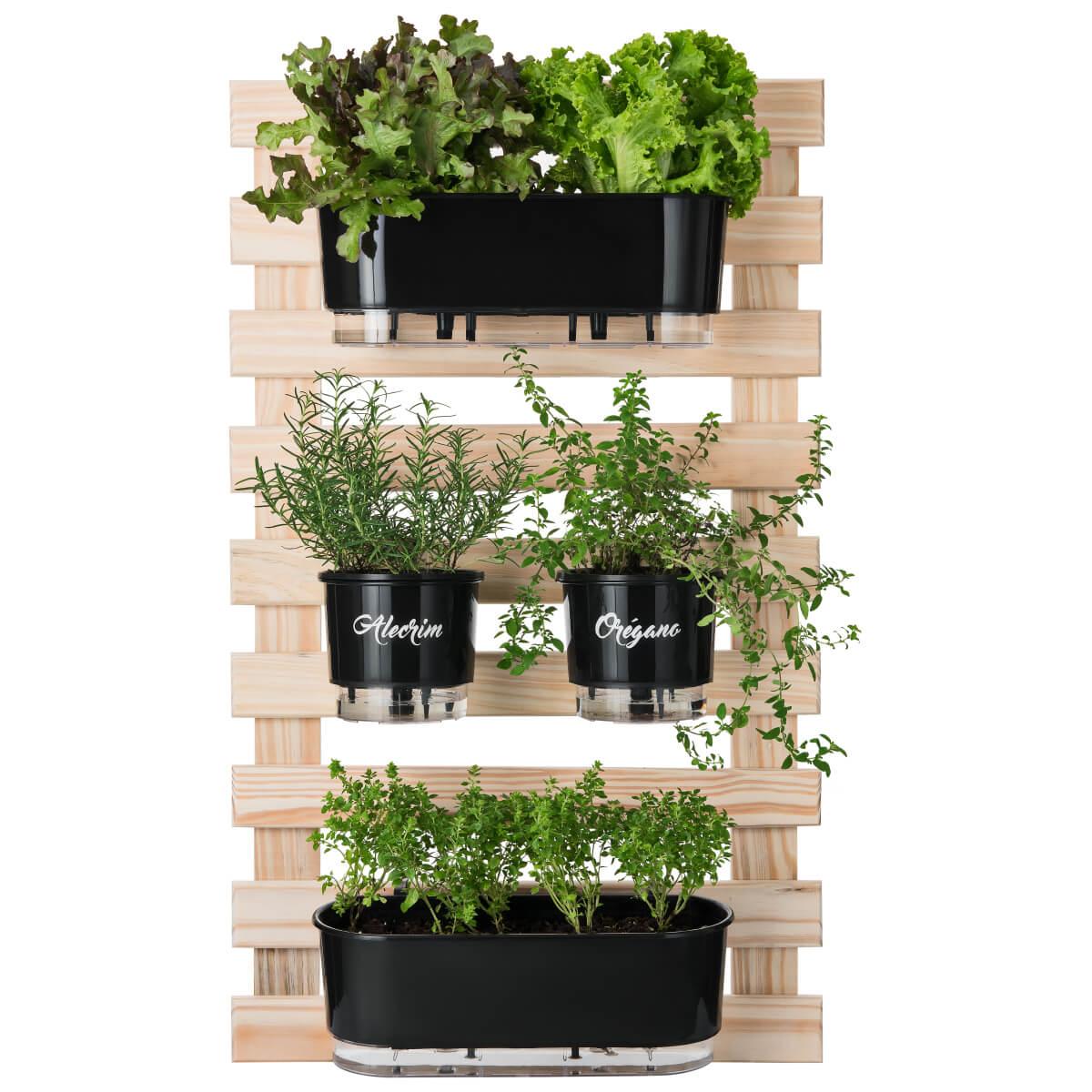 Kit Horta Vertical 60cm x 100cm com 2 Jardineiras e 2 Vasos Médios Gourmet  - Loja Raiz