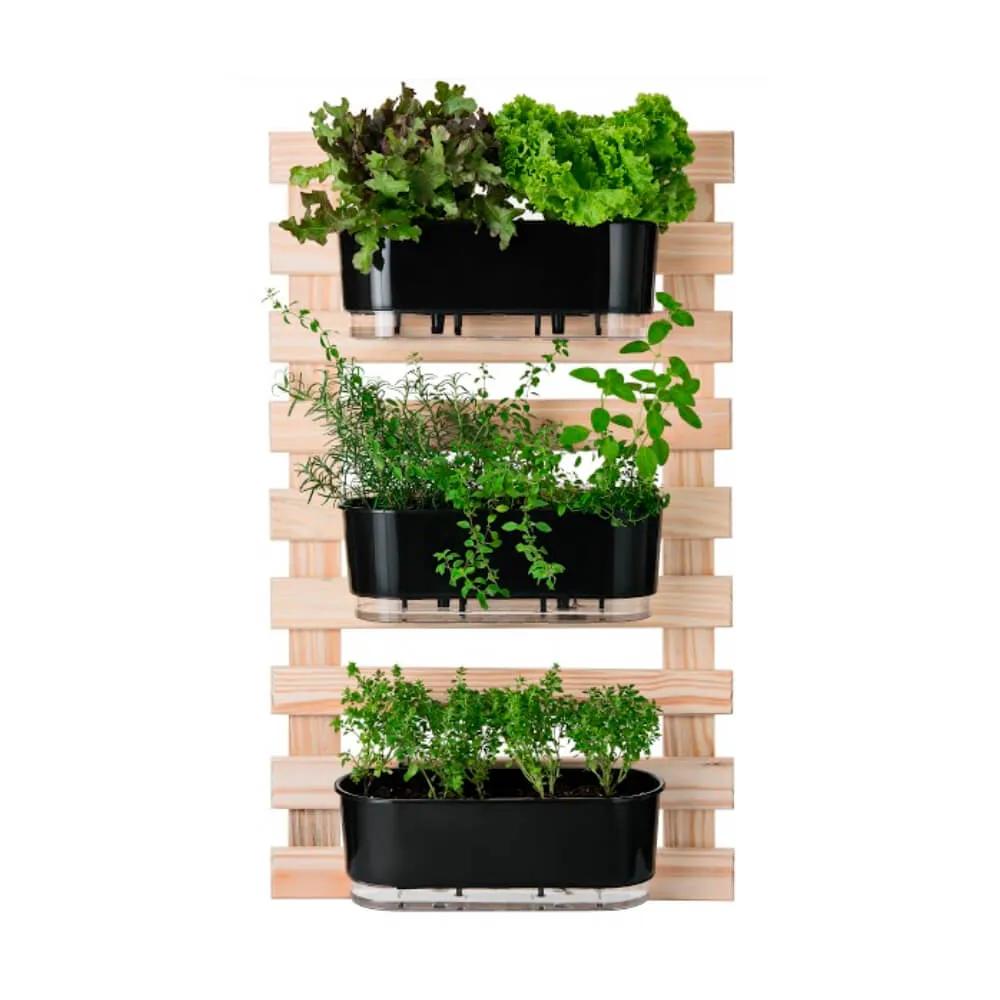 Kit Horta Vertical 60cm x 100cm com 3 Jardineiras pretas  - Vasos Raiz Loja Oficial