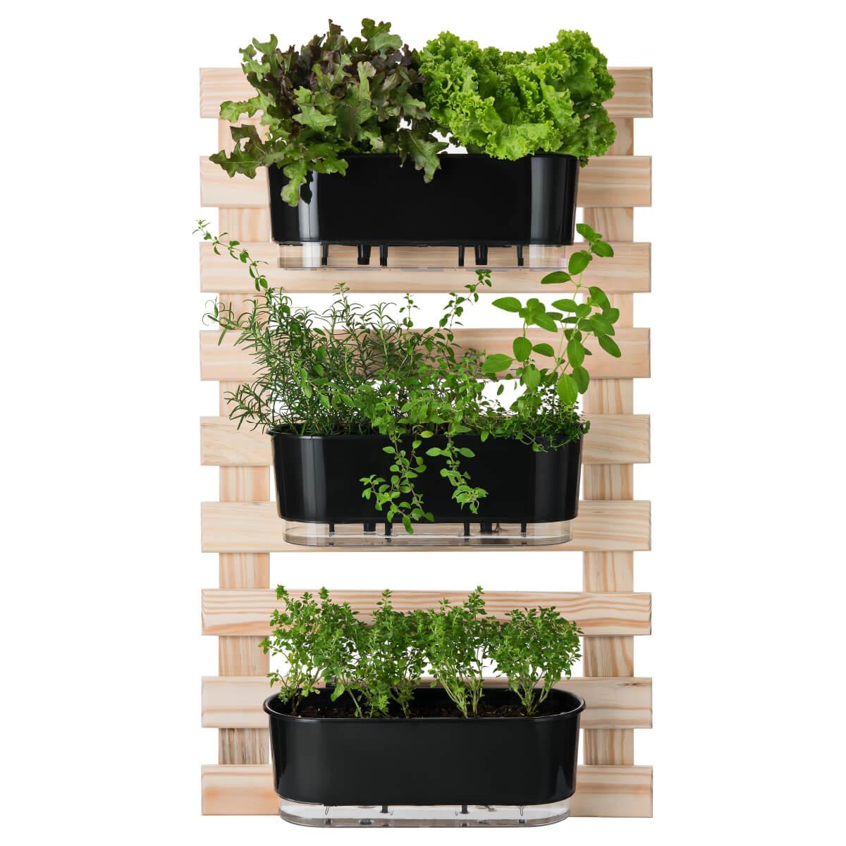 Kit Horta Vertical 60cm x 100cm com 3 Jardineiras Pretas  - Loja Raiz