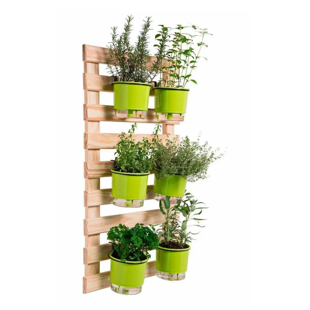 Kit Horta Vertical 60cm x 100cm com 6 Vasos Verde  - Vasos Raiz Loja Oficial